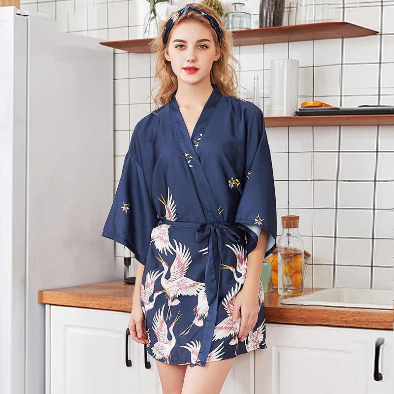 موضة المرأة الصيف كيمونو صغير رداء سيدة رايون حمام ثوب يوكاتا ثوب النوم قمصان النوم Pijama Mujer حجم M-XXL