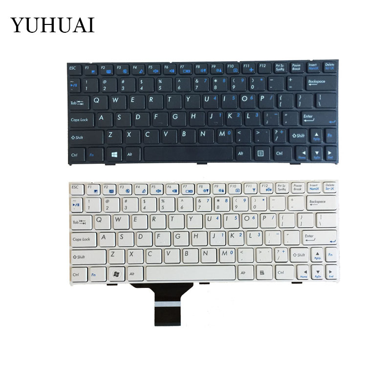 New US keyboard for CLEVO pavilion M1110 M11X M1100 M1110Q M1111 <font><b>W110ER</b></font> M1115 English black and white laptop keyboard with frame image