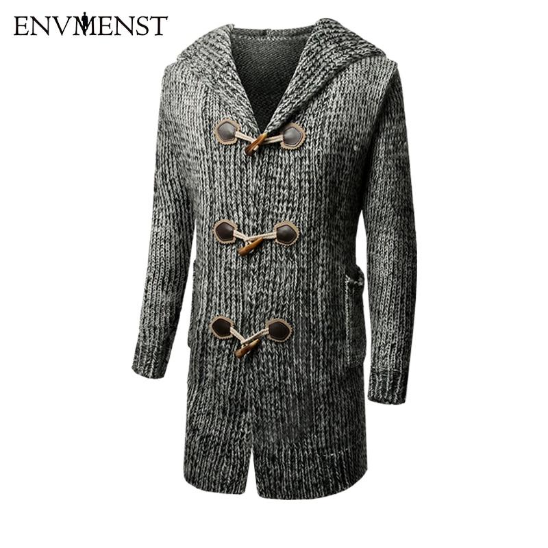 2018 Spring Warm Thick Men's Long Sweater Horns Buckle Button Cardigan Sweatercoat Knitting Jacket Hooded Wind Breaker