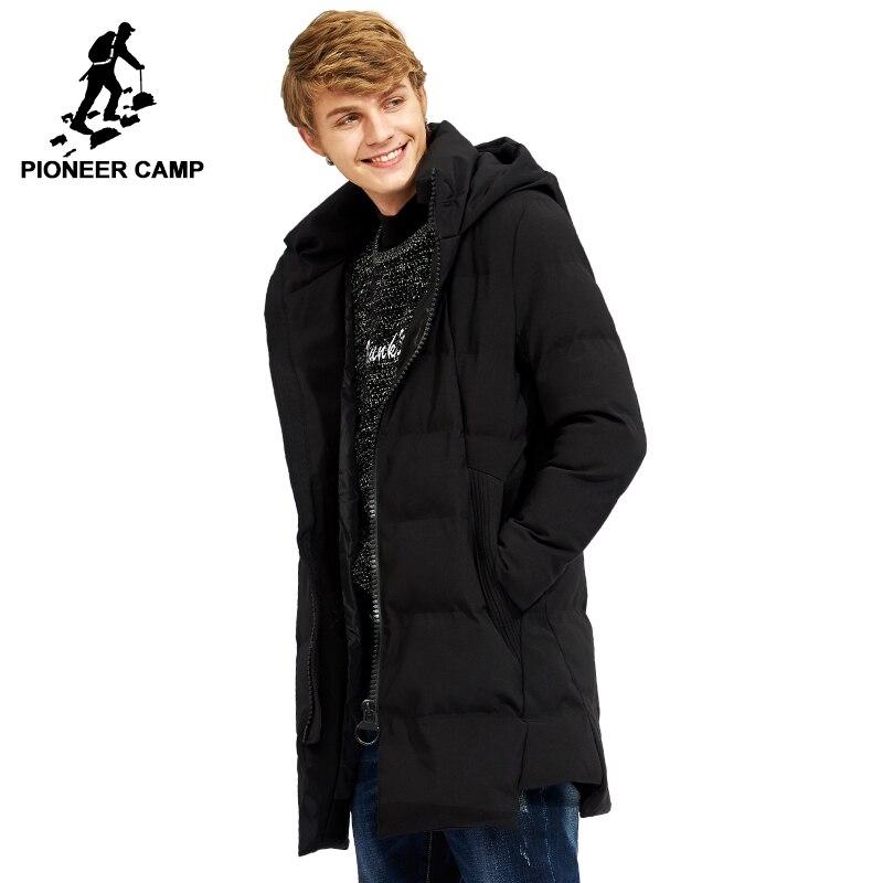 Пионерский лагерь новое длинная толстая зимняя куртка брендовая мужская одежда черный однотонная теплая куртка с капюшоном мужская качест...
