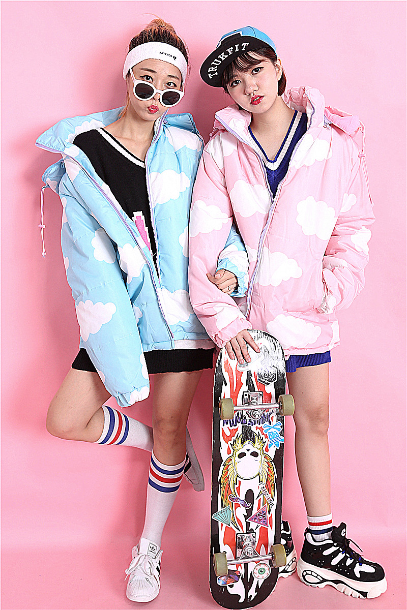 Fashion fashion sweet pink print zipper the disassemblability clip with a hood cotton-padded coat female loose