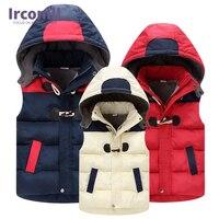 2016 Autumn Winter Kid Waistcoats Children Vest Warm Hooded Coat Infant Sleeveless Jacket Cotton Kid Clothe