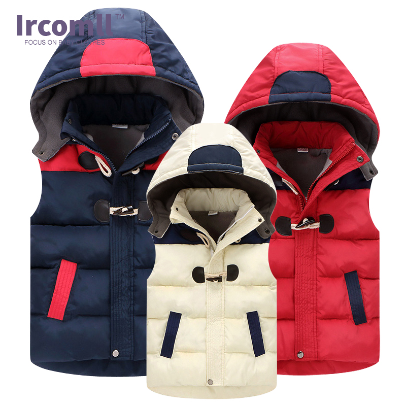 2018 Vinter Barn Västar Barn Vest Varm Hooded Coat Spädbarn Ärmlös Jacka Bomull Kid Clothe Boy Girl Outwear