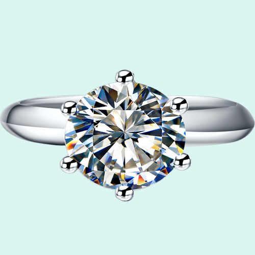 Anel de noivado de prata genuíno 3ct solitaire prongs casamento banda semi montagem nscd sintético diamante anéis conjunto para mulher