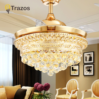 TRAZOS 42 inch Gold Modern Crystal Ceiling Fans With Lights Living Room Folding Ceiling Light Fan Crystal Lamp Remote Control