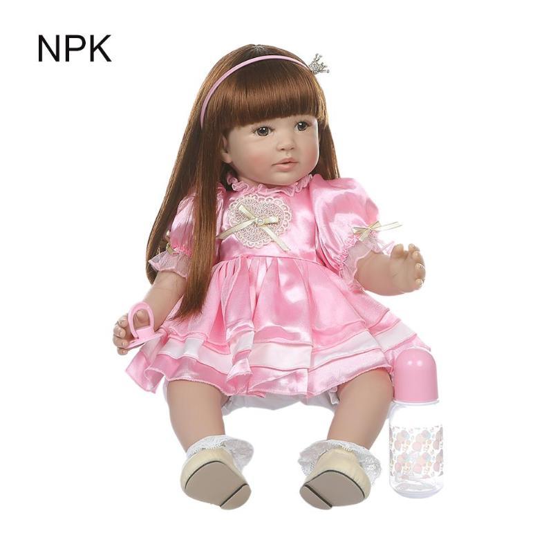 Mignon vinyle Reborn bébé fille princesse doux poupée jouet enfants Playmate w/vêtements sûrs vinyle enfants bébé poupée jouet