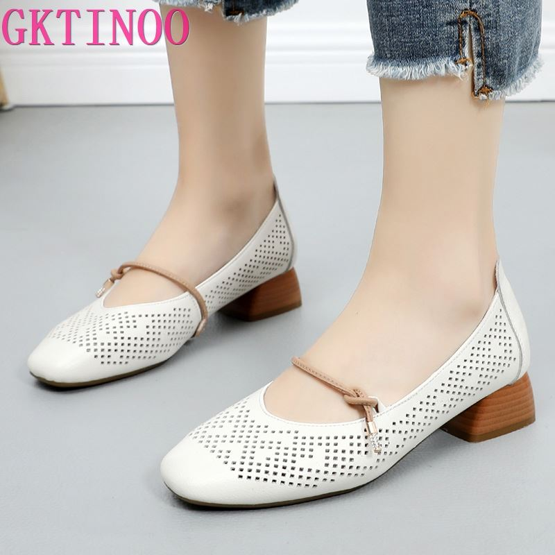 2019 Spring Summer Breathable Hollow Genuine Leather Shoes Thick with Low Heels Shoes Sandals Women Fashion Shoes Plus Size
