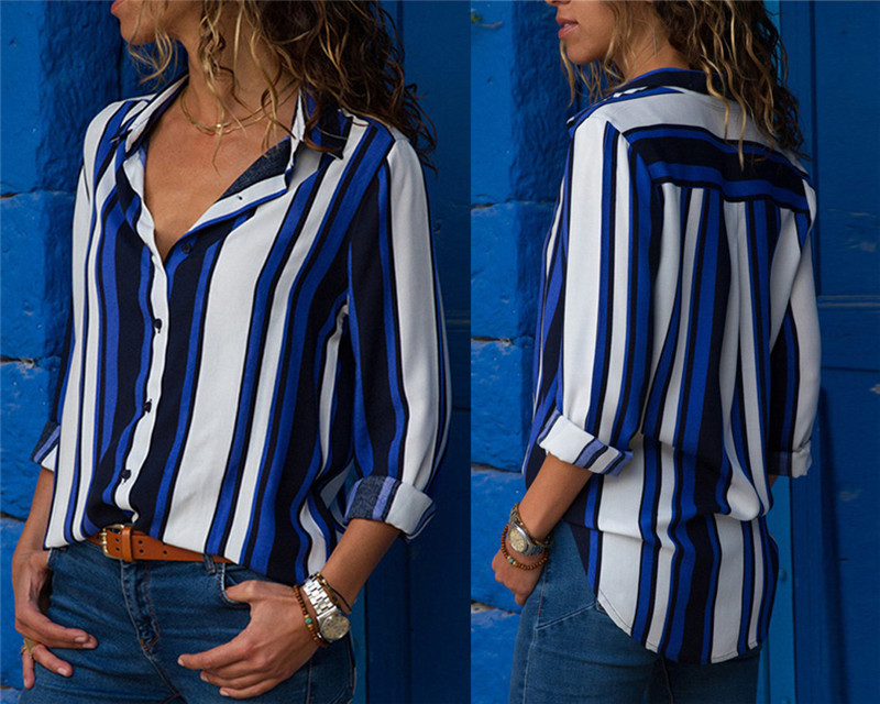 Women Blouses Fashion Long Sleeve Turn Down Collar Office Shirt Leisure Blouse Shirt Casual Tops 49