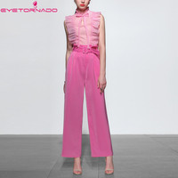 Women sexy Bow ruffle Organza sleevless shirt top + long pleated waist pant suit 2 pieces set casual work office set outfit