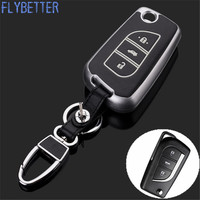 FLYBETTER Chất Liệu ABS New Genuine Leather Từ Xa Control Key Chain Bìa Trường Hợp Đối Với Toyota Camry/Reiz 3 Buttons Lật Key L1756