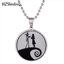 2018 New Nightmare Before Christmas Pendant Necklace Sally and Jack Pendants Stainless Steel Necklaces For Men Women Fashion HZ7(China)