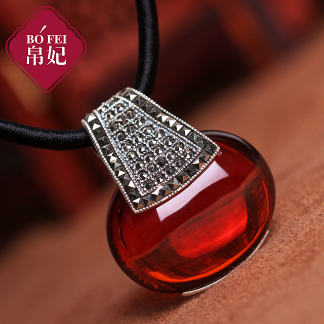 925 Sterling silver garnet Retro Pendant red Natural Semi-precious stones necklace Women jewelry girlfriend birthday gift