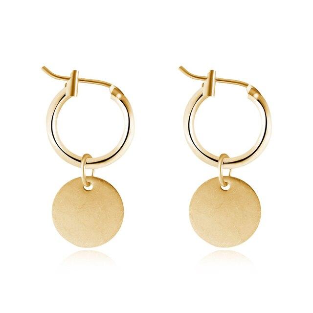 GEOMEE 1Pair Gold Color Geometry Round Pandent Drop Earring Metal Hanging Earrin