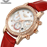 GUANQIN GQ15001lady Chronograph 2017 Fashion Casual Watch Women Sapphire Glass Waterproof Quartz Female Watches Red Leather