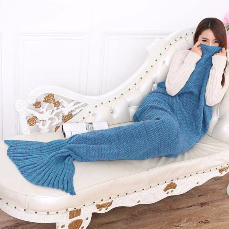 Knitted sofa blanket  Handmade Crochet / Blanket Mermaid Blanket queen princess gift Bed Wrap Super Soft 2016 fashion knitted mermaid blanket fish tail soft and warm blanket adult throw bed wrap sleeping bag60 140 cm