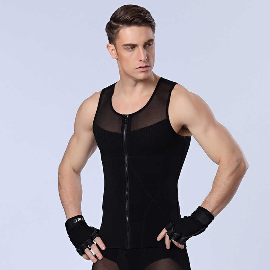 43841af186e60 Men s Front Zipper Slimming t-shirts Male Waist corsets underwear Body  Shapers Lose Weight