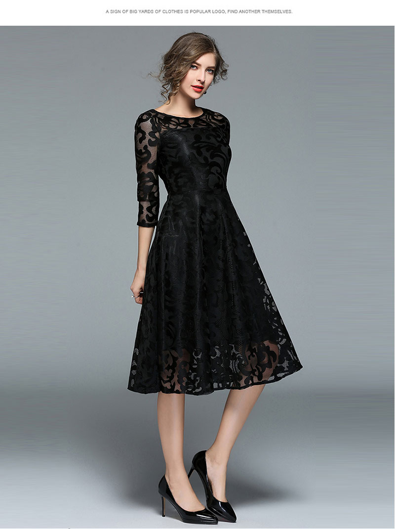 Borisovich New 18 Spring Fashion England Style Luxury Elegant Slim Ladies Party Dress Women Casual Lace Dresses Vestidos M107 5