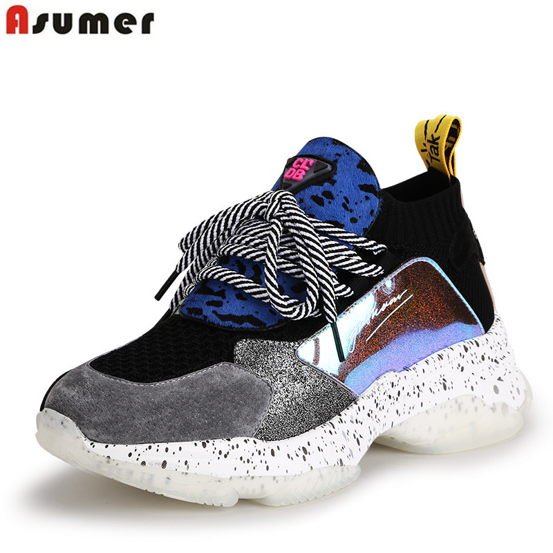 ASUMER Size 35-41 New 2019 Ladies shoes Cow   Leather   Horse hair Womens sneakers lace up   suede   sock platform sneakers for women