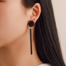2019 H0t New Fashion Golden Silver Plated Dangle Hanging Black Rhinestone Long Earrings For Women Jewelry