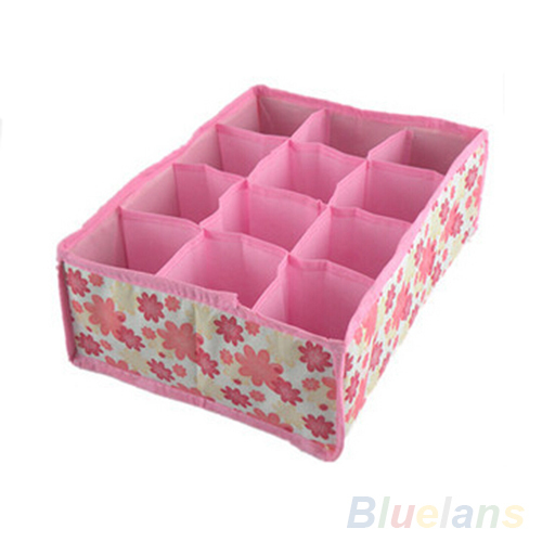 Home Storage Box Organizer Flodable Non-woven Fabric Underwear Socks Drawer Organizer 12 Cells Storage Boxes Cases