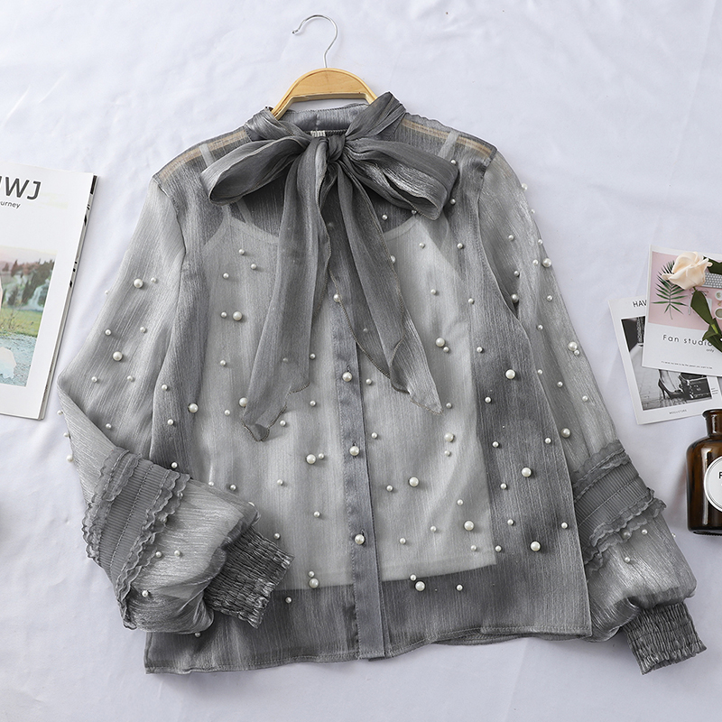 chiffon women blouse and shirts vintage bow lantern sleeved beaded office lady white shirts elegant shirts tops(China)
