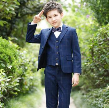 Boys Suits for Weddings Plaid Navy Blue boys wedding party suit Formal suit for boy kids wedding suits boy blazer 4pcs/set
