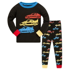 2019 New Cartoon Design Round Neck Boys Cotton Pajamas Set For Child kids long sleeve pyjamas Pyjamas 3~8 Year