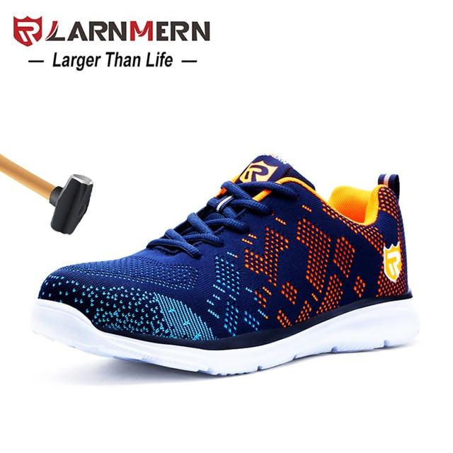 LARNMERN 軽量通気性の男性の安全靴鋼つま先作業靴男性のアンチスマッシング建設スニーカー反射