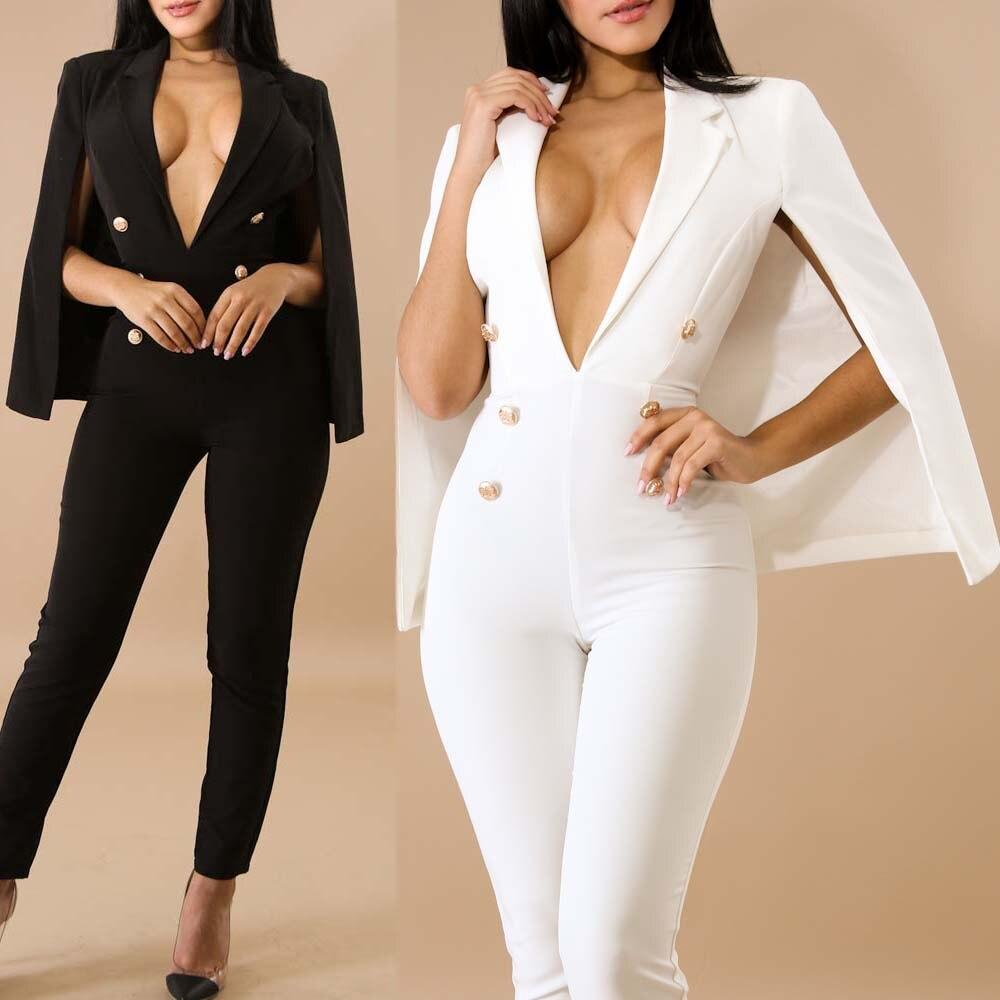 Plunge V Neck Slim Double Breasted Coat Tailored Blazer Cloak Poncho Cape Bodysuit Spring Women's Suit Jacket Costumes Plus Size