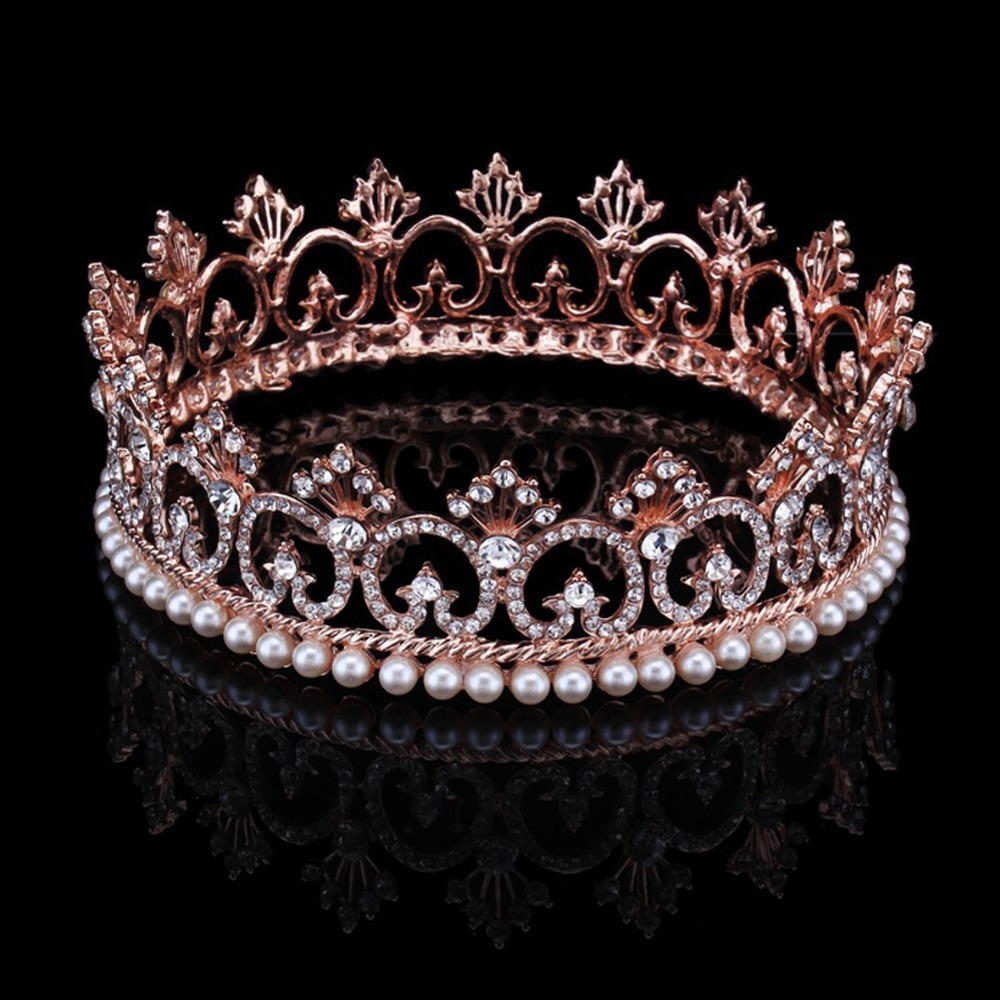 Women's Luxury Rose Gold Crystal Tiara Shining Rhinestone Crowns for Pageant Wedding Bridal Beauty Contest Prom Party Full Crown peacock star bridal wedding party quality sparkling pageant beauty contest black crystal tall tiara ct1389