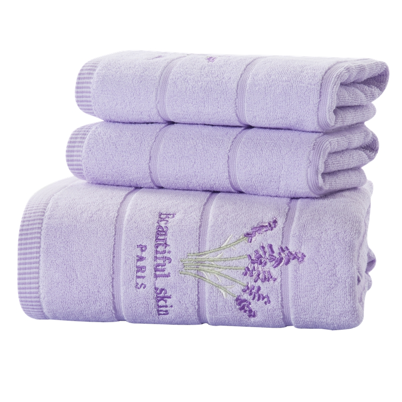 SunnyRain 3 Piece Embroidery Lavender Cotton Towel Set Face Towels Bath Towel For Adults Washcloths High