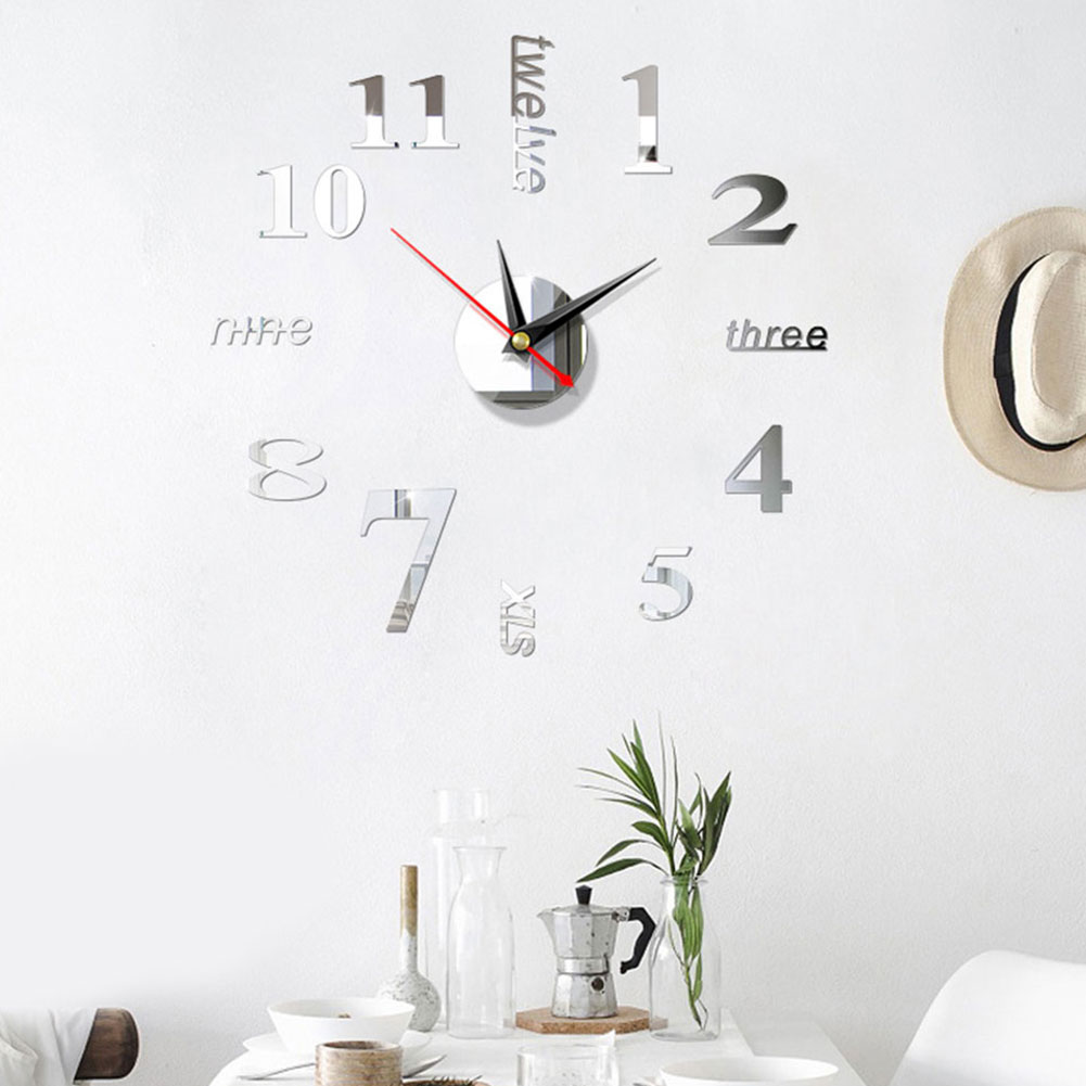 Large Digital Display Home Use Art Modern European Style Wall Clock 3D Stickers Simple Acrylic Mirror DIY Accessories Watch