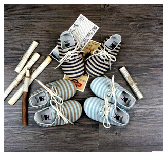 Fashion striped  Baby Moccasins Soft Moccs Shoes 2015 Newborn first walkers Genuine Cow Leather Infant baby girl shoes Footwear