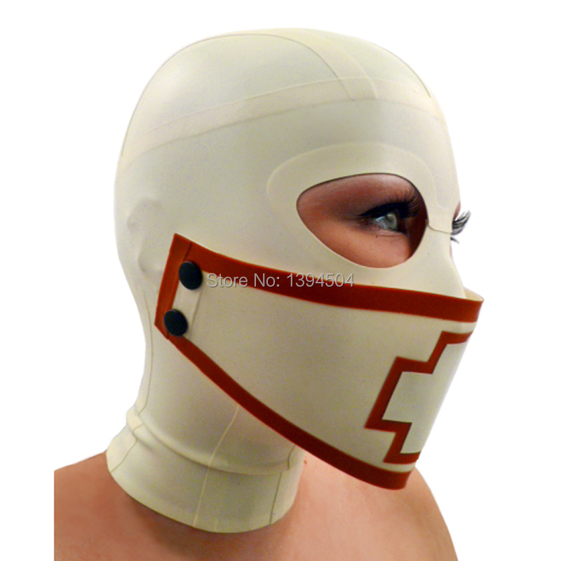 Hot Hot Sexy Lingerie Women Latex Mask Cross Spliced Hoods Fetish New Nurse Pull-through Open Eyes Plus Size