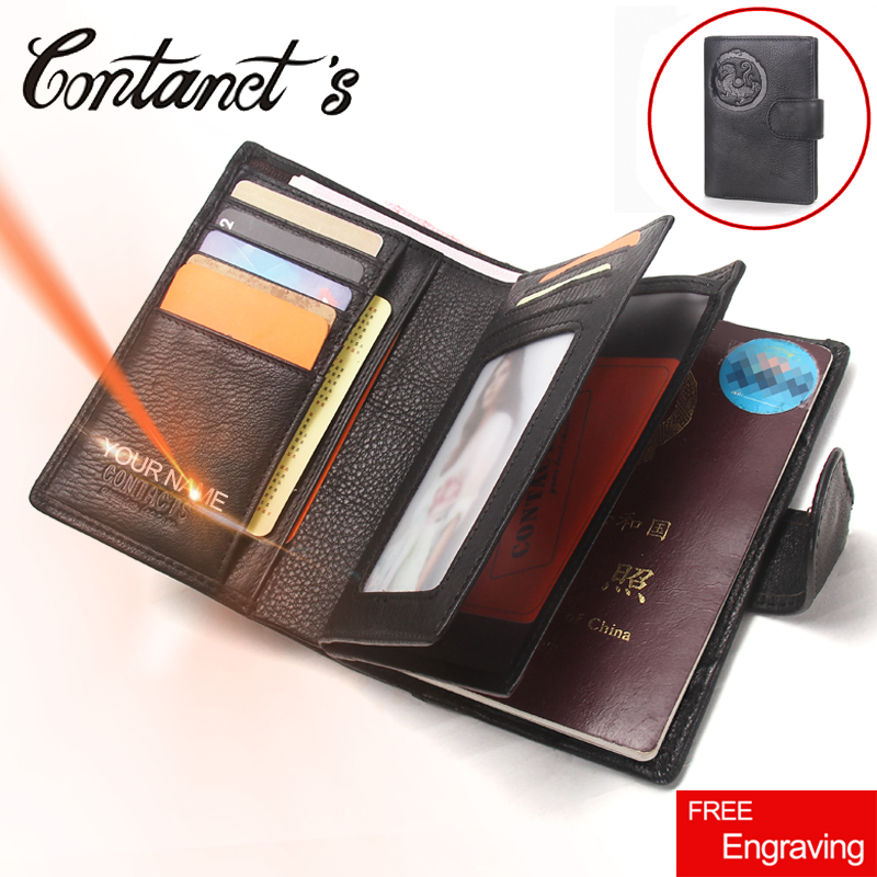 2018 Passport Wallet Men Genuine Leather Travel Passport Cover Case Document Holder Large Capacity Credit Card Holder Coin Purse