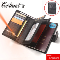 Free Engrave Genuine Leather Men Passport Wallet Fashion Large Capacity Passport Cover Case Travel Hasp Male