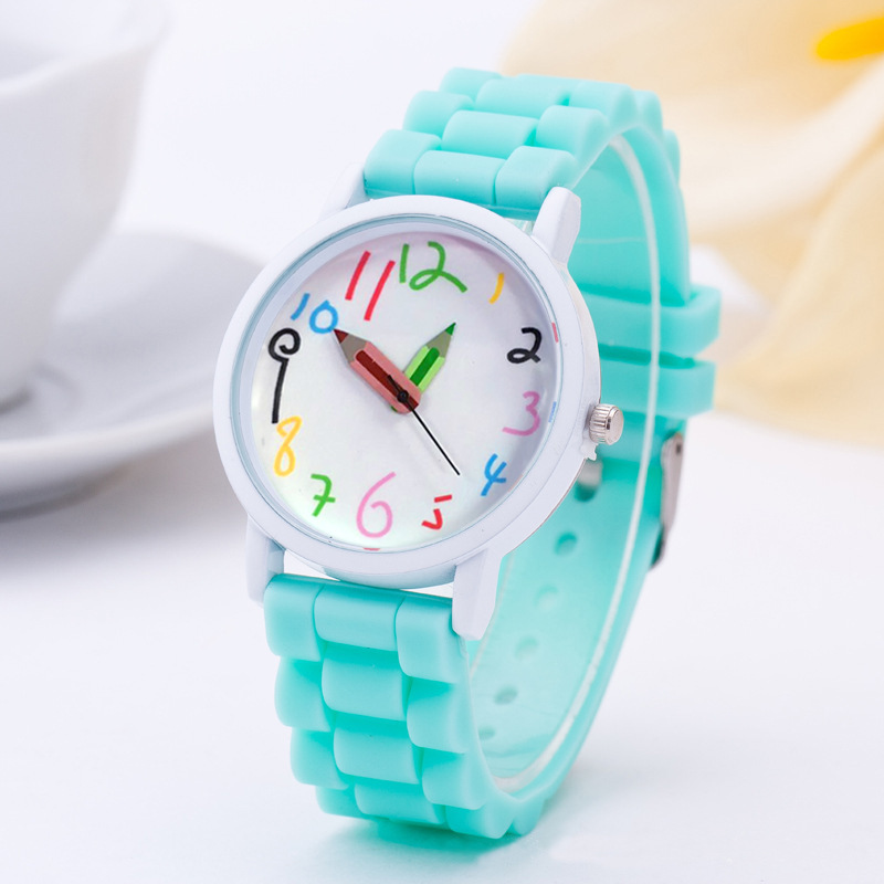 Fashion Pencil Cartoon watch Women Silicone Watches 2016 New Casual quartz wristwatch For Children and adults relogio feminino new fashion unisex women wristwatch quartz watch sports casual silicone reloj gifts relogio feminino clock digital watch orange