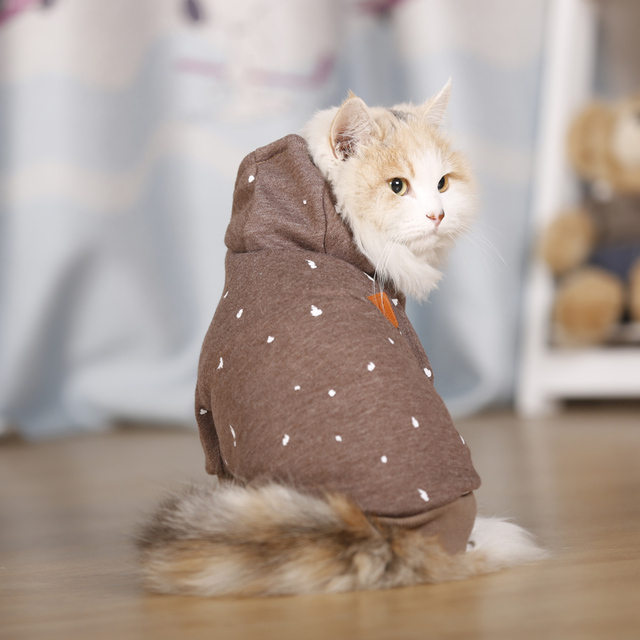 Warm and Cute Hooded Suit for Cats