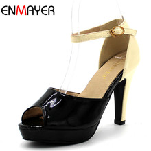 ENMAYER  Women Punms Peep Toe Buckle Strap Square Heel Ankle Strap High Heel Party Wedding Shoes Cusual Shoes for girl Size34-43 cute girl buckle strap deer printing leather shoes irregular little deer heel shoes double cherries high heel shoes deer heel