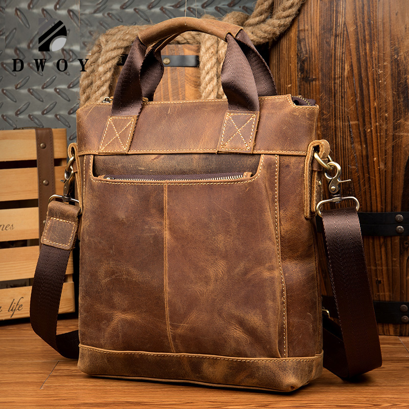 Vintage Crazy Horse Genuine Leather Men's Briefcase Leather Men's Messenger Bags Tote Shoulder Crossbody Bags Handbags