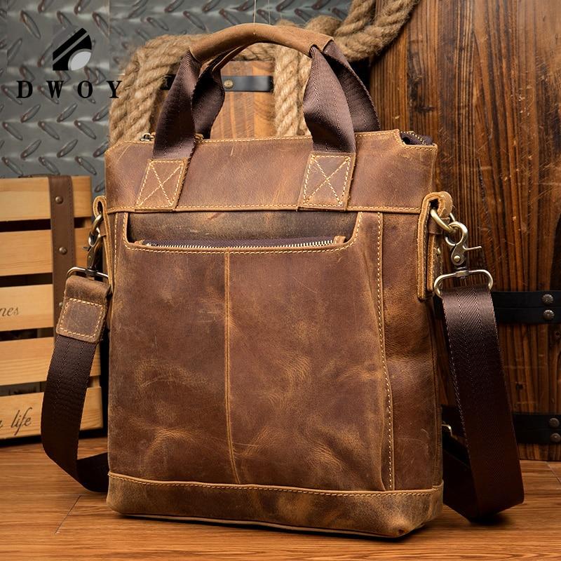 Vintage Crazy Horse Genuine Leather Men's Briefcase Leather Men's Messenger Bags Tote Shoulder Crossbody Bags Handbags