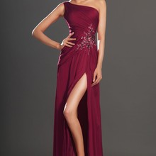 Новое поступление, Великолепное вечернее платье с одним плечом бордового цвета