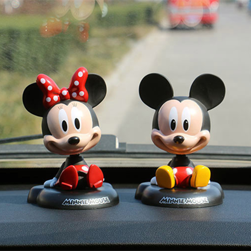 Funny Cute vinyl Mickey minnie Mouse spring Nodding Shake Head Shaking Doll craft home desk car auto ornament decoration decorFunny Cute vinyl Mickey minnie Mouse spring Nodding Shake Head Shaking Doll craft home desk car auto ornament decoration decor