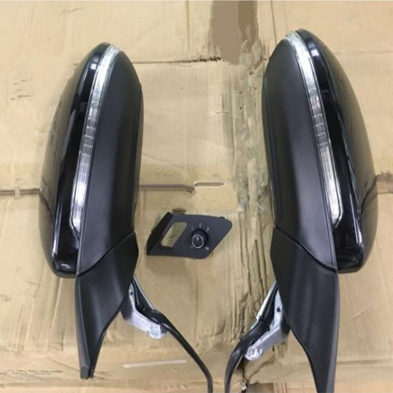 Black Genuine For Golf 7 mk7 Auto folding mirror electric folding side mirrors with light 5GG 857 507 A & 5GG 857 508 A for peugeot 307 electric car side mirror view mirror outside mirrors manual folding with a decorative cover free shipping