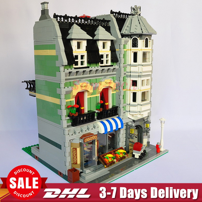 DHL LEPIN 15008 2462Pcs Genuine New City Street Green Grocer Model Building Kit Blocks Bricks Toys Compatitive Funny Gifts 10185 lepin 15008 new city street green grocer model building blocks bricks toy for child boy gift compatitive funny kit 10185 2462pcs