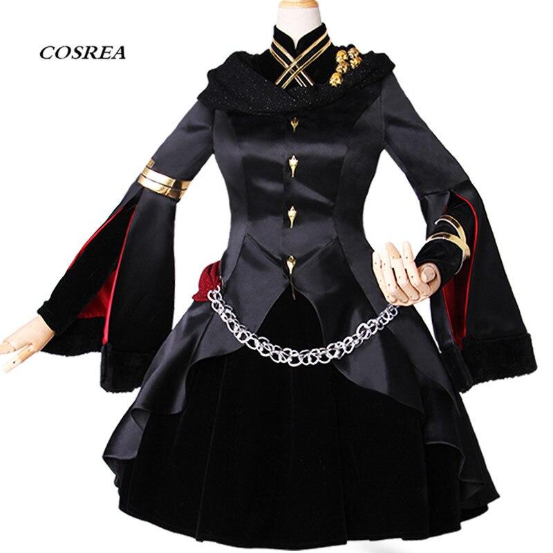 COSREA FGO Fate Grand Order Cosplay Costume Ereshkigal Black Fancy Full Suit Dress Costumes Halloween Party