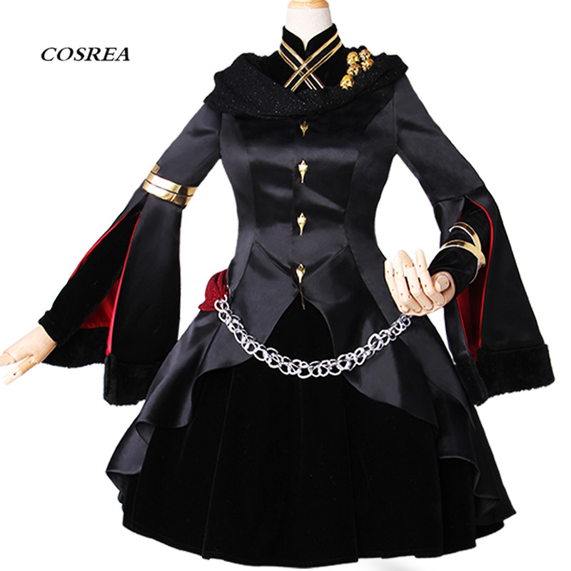 COSREA FGO Fate Grand Order Cosplay Costume Ereshkigal Black Fancy Full Suit Dress Costumes Halloween Party For Adult Woman
