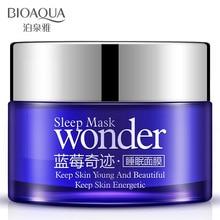 лучшая цена BIOAQUA Wonder Natural Blueberry Sleeping Mask Cream Anti Aging Anti Wrinkle Hydrating Moisturizing Night Cream No Wash Mask