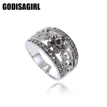 Fashion Jewelry Silver Plated Black CZ Flower Vintage Retro Ring Women Best Selling