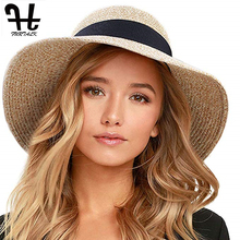 FURTALK Summer Sun Hat for Women Panama Straw Female UV Protection Floppy Beach Ladies Wide Brim Travel Bucket Cap